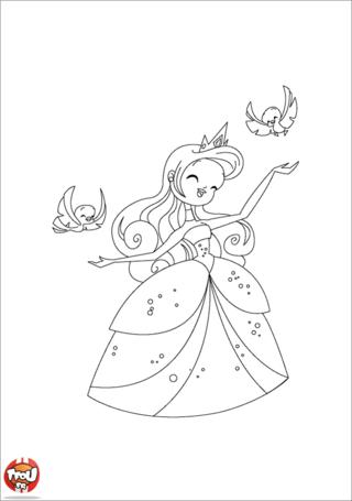 Coloriage: Princesse et oisillons