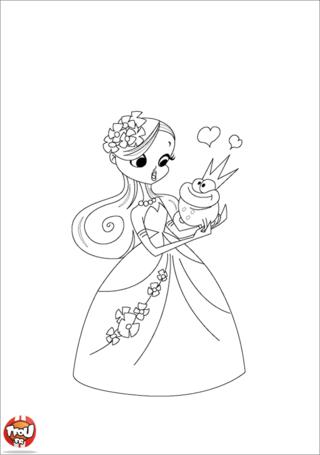 Coloriage: Princesse et grenouille