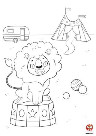 Un lion dans un cirque c'est rigolo ! Tfou.fr te propose gratuitement un coloriage à imprimer d'un lion au cirque. C'est bien connu, les lions ont de nombreux talents. Ils savent sauter dans des cerceaux, se dresser sur leurs pattes arrière. Bientôt ils sauront même faire du vélo avec les petites roulettes. Les lions sont de véritables acrobates ! Après tout ce sont des félins. Tu es un acrobate du coloriage ? Imprime gratuitement ce coloriage pour enfants de lion et ajoute-y les couleurs de ton choix.