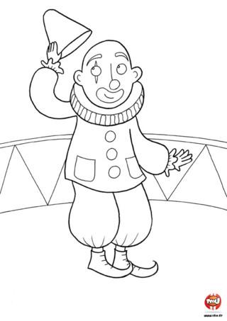 Coloriage : Le clown lève son chapeau. Mais que cache ce clown sous son chapeau ? Colorie ce joli coloriage de clown avec les couleurs de ton choix, tu peux même dessiner ce que tu souhaites ajouter sur ce coloriage sur le thème du crique.