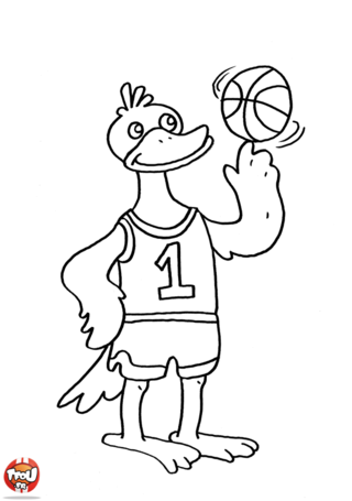 Coloriage: Canard basketteur