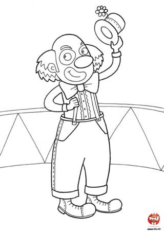 Coloriage : La clown salue les spectateurs. Après avoir fait son spectacle, le clown salue son public. Imprime vite ce coloriage et ajoute autant de couleurs que tu le souhaites pour donner de la couleur à ce clown.