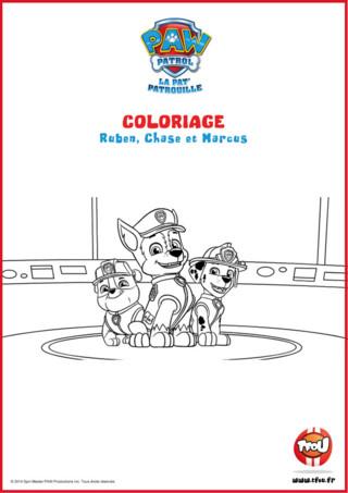 Prêt pour une activité coloriage? Amuse-toi à colorier Ruben, Chase et Marcus, des amis membres de la Pat'Patrouille. Le sais-tu? En imprimant gratuitement ce coloriage de tes héros TFou tu pourras gagner plein de Tfizz ainsi qu'un badge Paw Patrol!