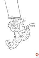 Le clown fait du trapèze