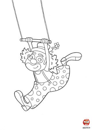 Coloriage : Le clown fait du trapèze. Colorie vite ce clown en imprimant gratuitement ton coloriage sur TFou.fr et utilise toutes les couleurs de ton choix