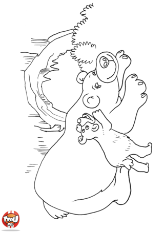 Coloriage: Petit ours et maman ourse