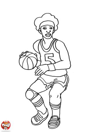 Coloriage: Basketteur dribble