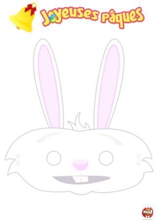 Coloriage : Découvre ce masque de lapin. N'est-il pas mignon ? Imprime gratuitement ton masque de lapin sur TFou.fr. Tu pourras ensuite le découper pour t'en faire un masque de lapin. Imprime-le avec tes amis. Vous pourrez vous déguiser pour Pâques comme cela et partir à la chasse aux oeufs avec votre beau masque. C'est trop cool, non ? Et en plus, en imprimant ce masque tu gagnes des points. Vive Pâques les TFounautes !