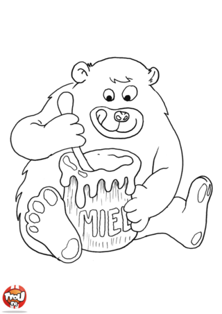 Coloriage: Petit ours aime le miel