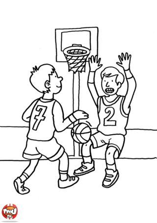 Coloriage: Enfants au basket