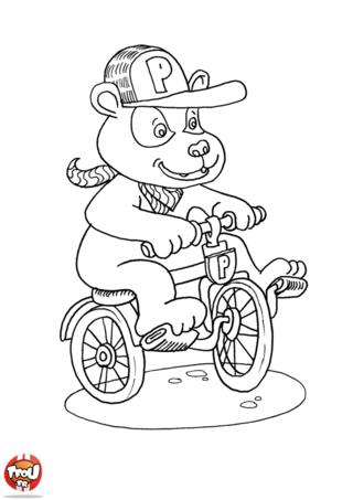 Coloriage: Petit panda fait du vélo