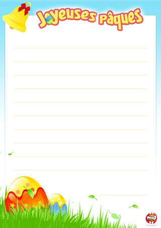 Coloriage : imprime vite ton papier à lettre spécial Pâques pour écrire à tes amis ou juste pour le collectionner. Plus tu imprimes des coloriages, plus tu gagnes des points sur TFou.fr. Et plus tu gagnes de points, plus tu peux t'amuser sur le site. Notamment en obtenant des badges héros. N'attend plus, imprime vite ton papier à lettre. Ce sera cool pour toi et tes amis. Tfou te souhaite de Joyeuses Pâques