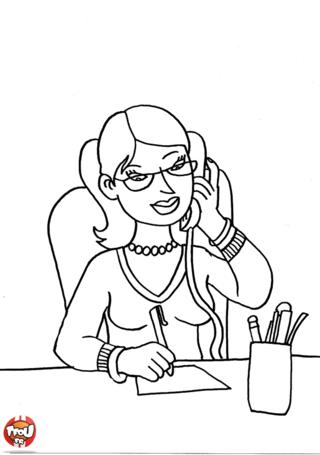 Coloriage: Secrétaire au bureau