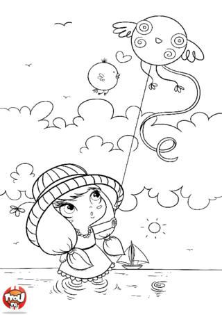 Coloriage: La petite fille au cerf-volant