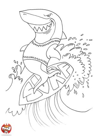 Coloriage: Requin surfe sur l'eau