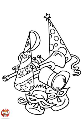 Es-tu prêt à participer au Carnaval ? As-tu réalisé ton costume ? Tu trouveras des idées en imprimant ce coloriage pour le Carnaval sur TFou.fr avec des masques et des chapeaux.
