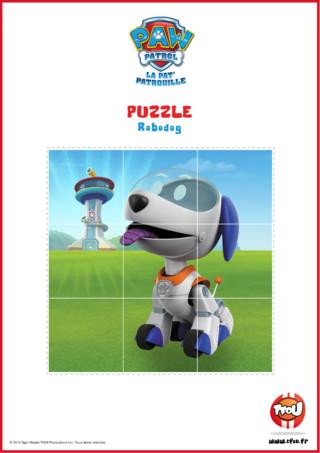 Et si tu faisais un puzzle ? Imprime et découpe vite le puzzle de Robodog, le nouveau membre de la Pat'Patrouille. Le sais-tu? En imprimant gratuitement ce puzzle de ton héros TFou tu pourras gagner plein de Tfizz ainsi qu'un badge Paw Patrol!