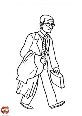 Coloriage: Banquier et sa malette