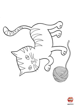 Coloriage : Le chat et la pelote de laine. Imprime vite ce joli coloriage du chat qui joue avec une pelote de laine.