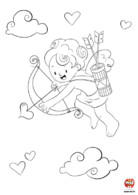 Coloriage saint valentin Cupidon mission love