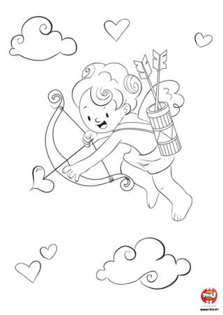 La Saint-Valentin approche... Cupidon pars en mission ! Il doit faire le plus d'amoureux possible avant le grand jour. Armé de son arc et de ses loves flèches, il tire sur deux personnes et hop ! Un joli couple se forme. Aide Cupidon dans sa mission en imprimant ce coloriage Saint-Valentin pour enfant sur TFou.fr. Mets des couleurs pour que le 14 février on puisse voir la vie en rose et distribue ce coloriage à tes copains et copines ! Il y a de l'amour dans l'air...
