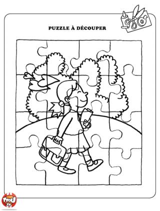 Coloriage: Petite fille qui va à l'école