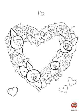 Imprime ce coloriage gratuit de la Saint-Valentin sur TFou.fr ! Dans ce coloriage, tu trouveras une jolie couronne de fleur en forme de coeur que tu peux offrir à la personne que tu aimes. La Saint-Valentin est la fête des amoureux. Célèbre ce beau jour en t'amusant avec ce beau coloriage !