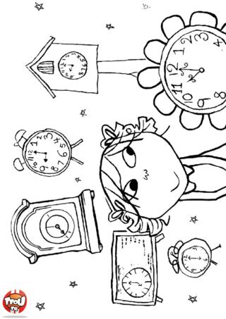 Coloriage: Lola et les horloges