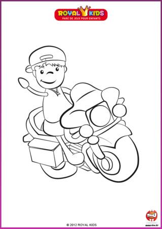 Coloriage : En route pour Royal Kids ! Imprime et colorie cette moto !
