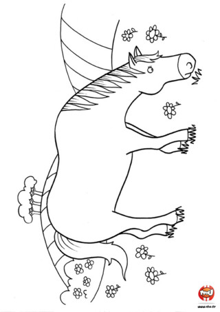 Coloriage : Un cheval dans le pré. Tu aimes les chevaux ? Ce coloriage est pour toi ! Imprime vite ce coloriage d'un beau cheval qui broute dans le pré.