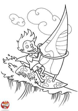 Coloriage: Petit garçon fait de la planche à voile