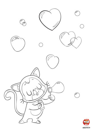 Pour la Saint-Valentin, le petit chat amoureux fait des bulles en rêvant qu'elles arrivent jusqu'à l'élue de son coeur. Ces bulles sont spéciales. Elles ont la forme d'un coeur et virevoltent gaiement dans le ciel. Son amoureuse les verra-t-elle ? Pour ça, le petit chat a besoin de ton aide. Imprime vite ce coloriage gratuit de la Saint-Valentin sur TFou.fr et donne-le à ton amoureux ou ton amoureuse. Peut-être qu'une petite chatte qui passe par là le verra et le reconnaîtra !