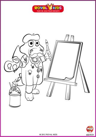 Coloriage : Léon le dragon, la mascotte de Royal Kids, s'est déguisé en peintre ! Imprime ce coloriage pour donner des couleurs à Léon le dragon.