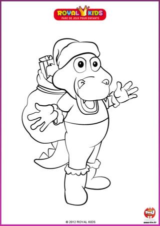 Coloriage : Le Père Noël a prêté son bonnet, ses bottes et sa hotte pleine de cadeaux à Léon le dragon. Imprime et colorie Léon aux couleurs de Noël !