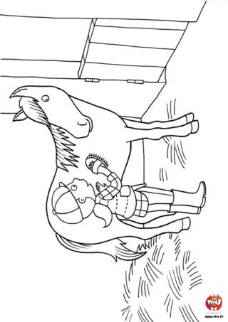 Coloriage : Le cheval se fait brosser est un coloriage à imprimer gratuitement et à colorier avec les couleurs de ton choix. Feutres ou crayons de couleurs c'est parti !