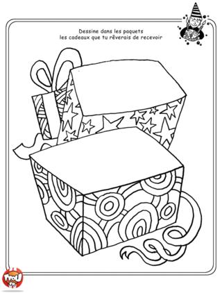 Coloriage: Dessine sur ce coloriage, le cadeau de tes rêves. Peut-être que ça donnera des idées à tes amis et ta famille pour ton anniversaire.