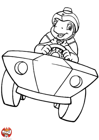 Coloriage: Franklin en voiture