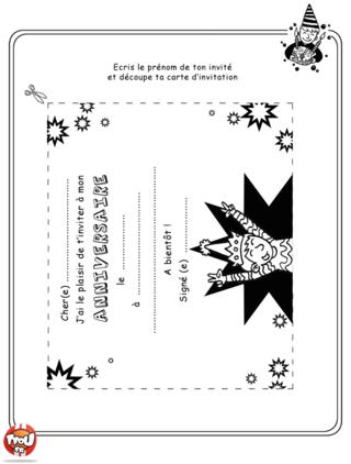 Coloriage: Imprime ton carton d'invitation pour inviter tous tes amis pour ta fête d'anniversaire.
