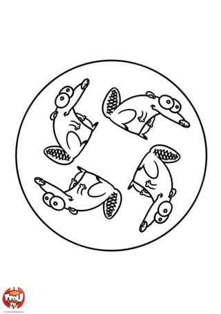 Coloriage: Mandala castor