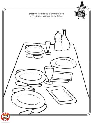 Coloriage: Décor ta table d'anniversaire et place tes amis autour de la table pour préparer ta fête d'anniversaire.