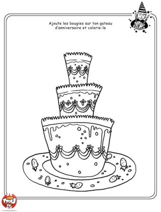 Coloriage: Quel âge as-tu ? Ajoute vite tes bougies sur ton gâteau et colorie-le !