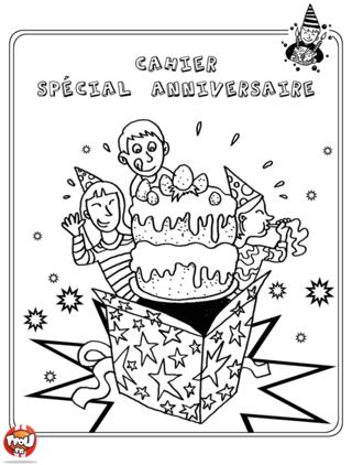 Coloriage : Imprime vite la couverture de ton cahier d'activité pour préparer ton anniversaire avec tes amis.