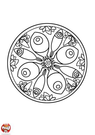 Coloriage: Mandala poisson