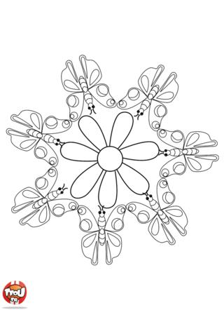 Coloriage: Mandala papillon
