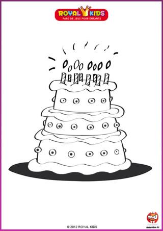 Coloriage : Chez Royal Kids, tu peux fêter ton anniversaire avec tes copains et tes copines. Tu auras même droit à un gâteau d'anniversaire !
