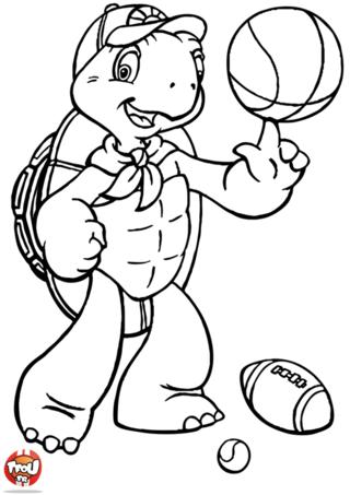 Coloriage: Franklin fait du sport