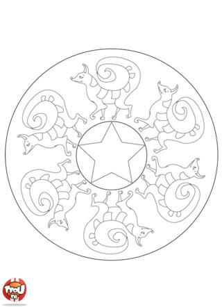 Coloriage: Mandala renard