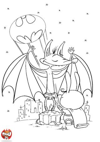 Coloriage: Chauve-souris qui se prend pour Batman