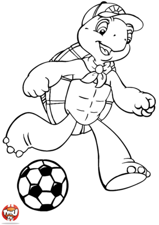 Coloriage: Franklin joue au foot