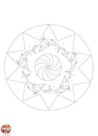 Coloriage: Mandala dauphin